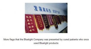 honor flags that the bluelight company was presented by cured patients who once used bluelight products